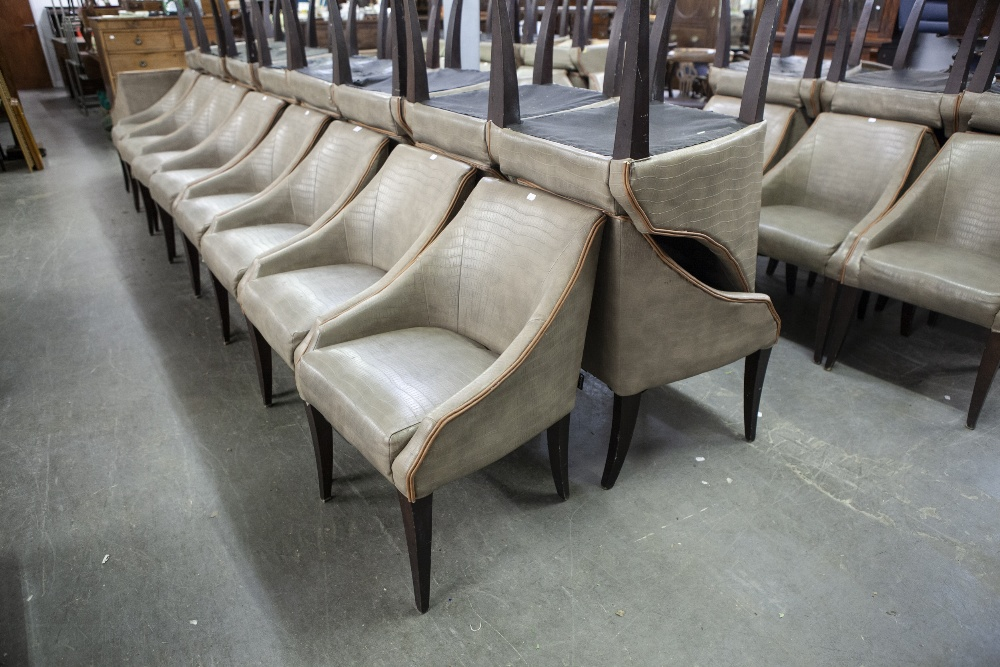 Lot 2 - SET OF SIX 'KNIGHTSBRIDGE' TUB SHAPED DINING CHAIRS, COVERED IN BROWN FAUX LEATHER (6)