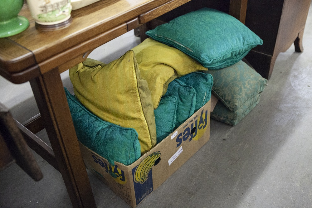 Lot 24 - SET OF SIX GREEN SELF COLOURED LEAF PATTERN FABRIC SCATTER CUSHIONS; PAIR OF GREEN AND GOLD