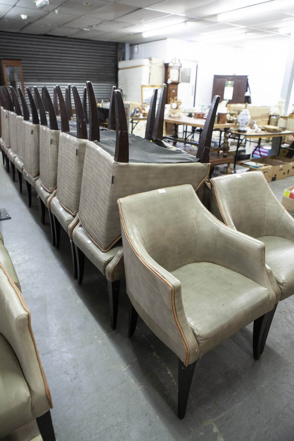 Lot 4 - SET OF SIX 'KNIGHTSBRIDGE' TUB SHAPED DINING CHAIRS, COVERED IN BROWN FAUX LEATHER (6)