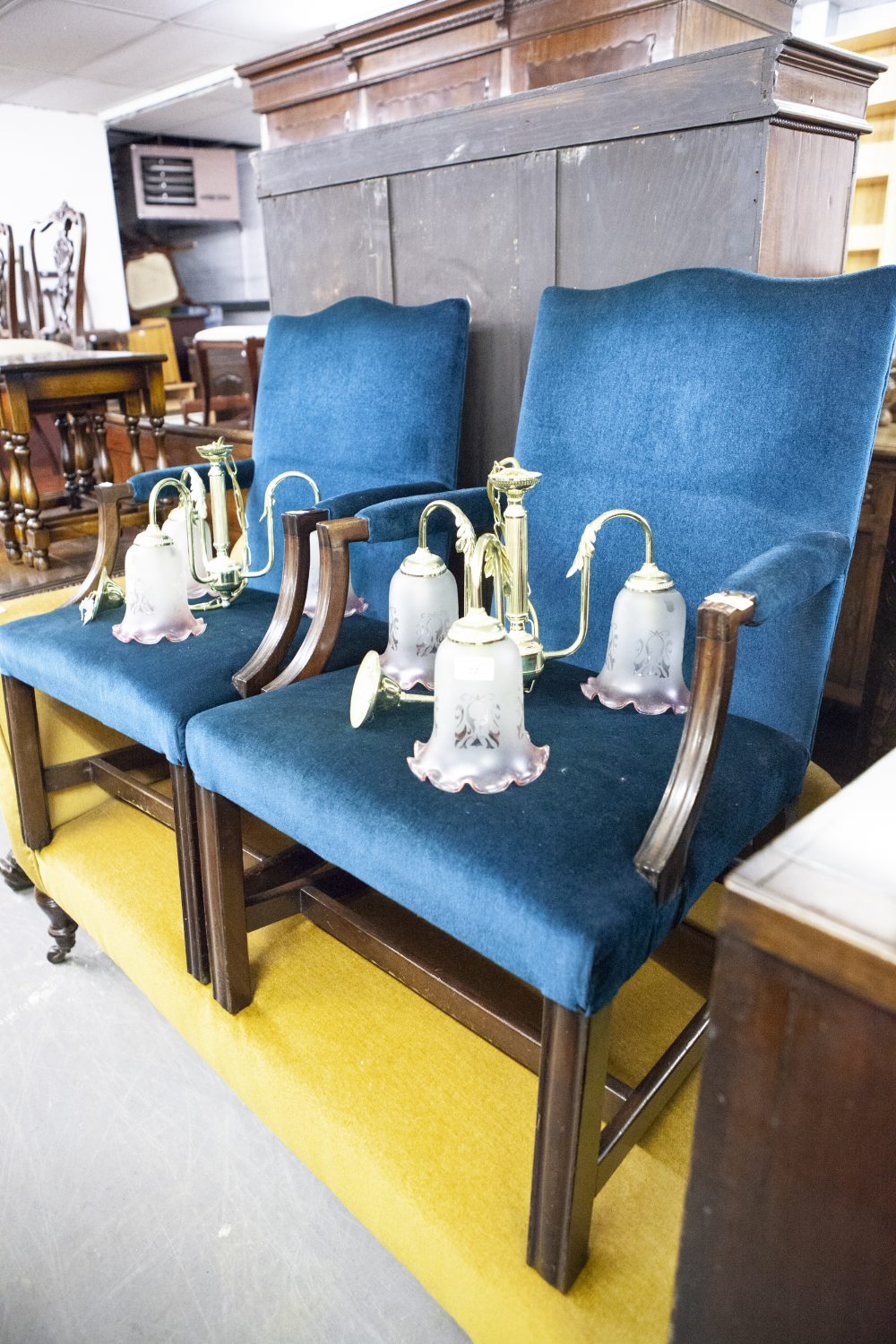 Lot 51 - A PAIR OF ANTIQUE MAHOGANY LIBRARY OPEN ARMCHAIRS, WITH BACKS, ELBOW REST AND SEATS COVERED IN