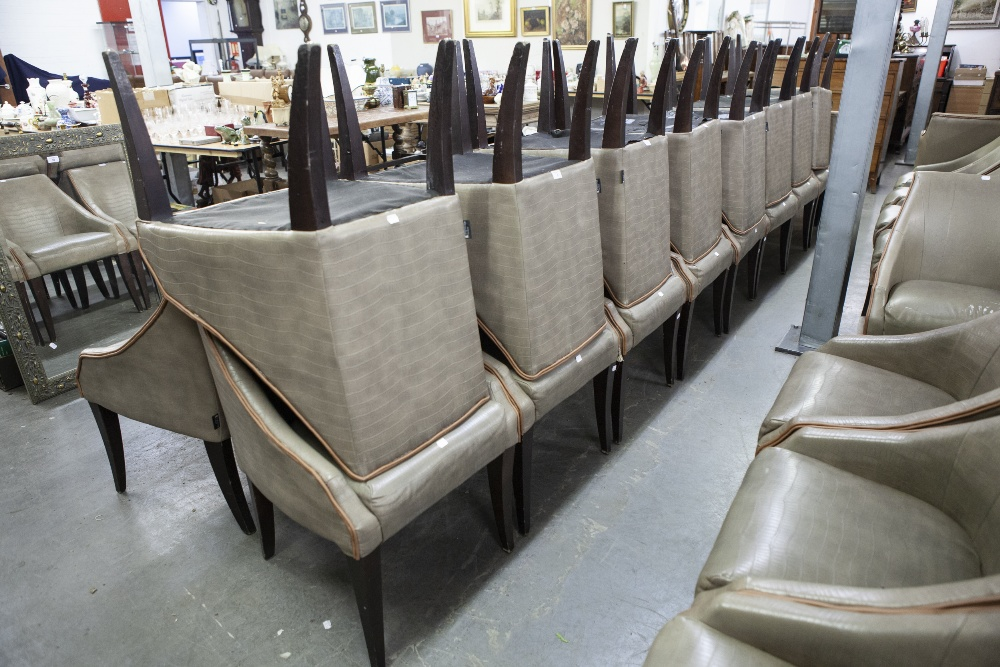Lot 3 - SET OF SIX 'KNIGHTSBRIDGE' TUB SHAPED DINING CHAIRS, COVERED IN BROWN FAUX LEATHER (6)