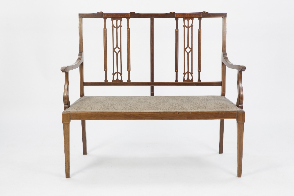 Lot 54 - SEVEN PIECE EARLY TWENTIETH CENTURY LINE INLAID MAHOGANY DRAWING ROOM SUITE, comprising: TWO