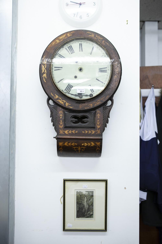 Lot 60 - A DROP DIAL INLAID WALL CLOCK (A.F.) AND A BOOKPLATE 'PONT-Y-MONARCH OR DEVILS BRIDGE' (2)