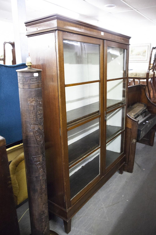 Lot 50 - AN EARLY TWENTIETH CENTURY MAHOGANY LIBRARY BOOKCASE WITH TWO PLAIN GLAZED DOORS, ENCLOSING THREE
