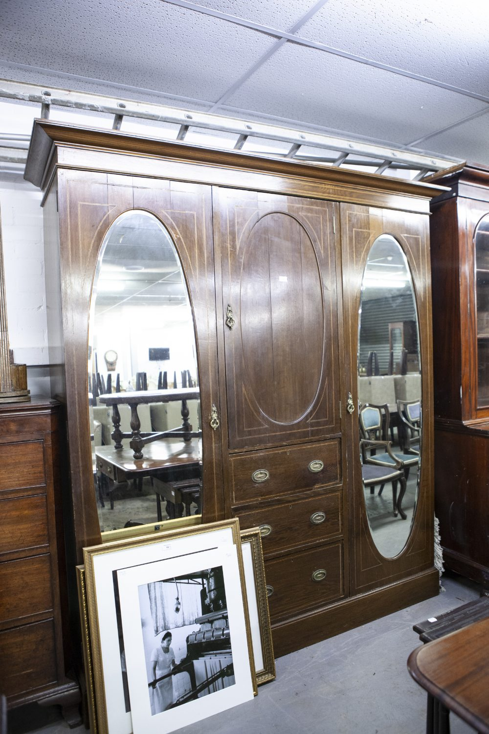 LATE NINETEENTH CENTURY INLAID OAK BEACONSFIELD TYPE WARDROBE WITH TWO OVAL MIRROR PANEL DOORS (A.