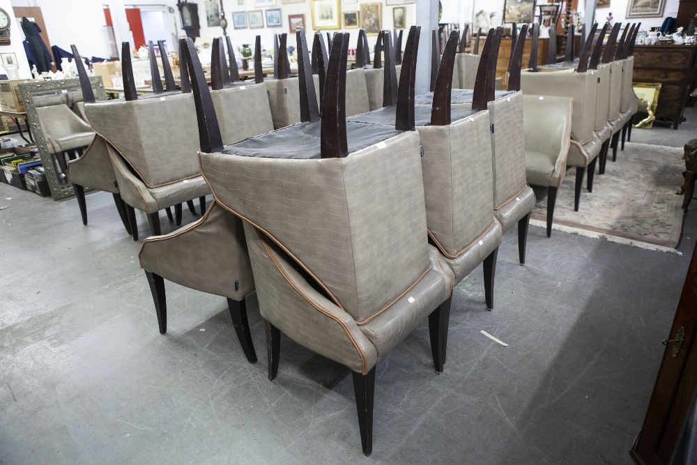 Lot 6 - SET OF SIX 'KNIGHTSBRIDGE' TUB SHAPED DINING CHAIRS, COVERED IN BROWN FAUX LEATHER (6)