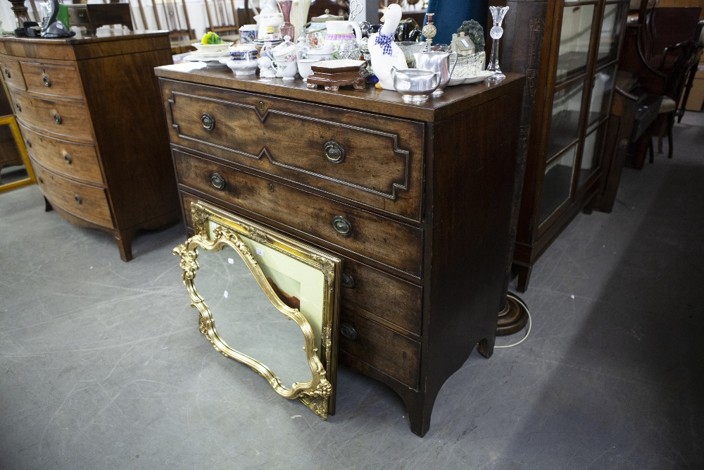Lot 49 - GEORGE III MAHOGANY SECRETAIRE CHEST WITH FALL FRONT SECRETAIRE DRAWER OVER THREE GRADUATED LONG