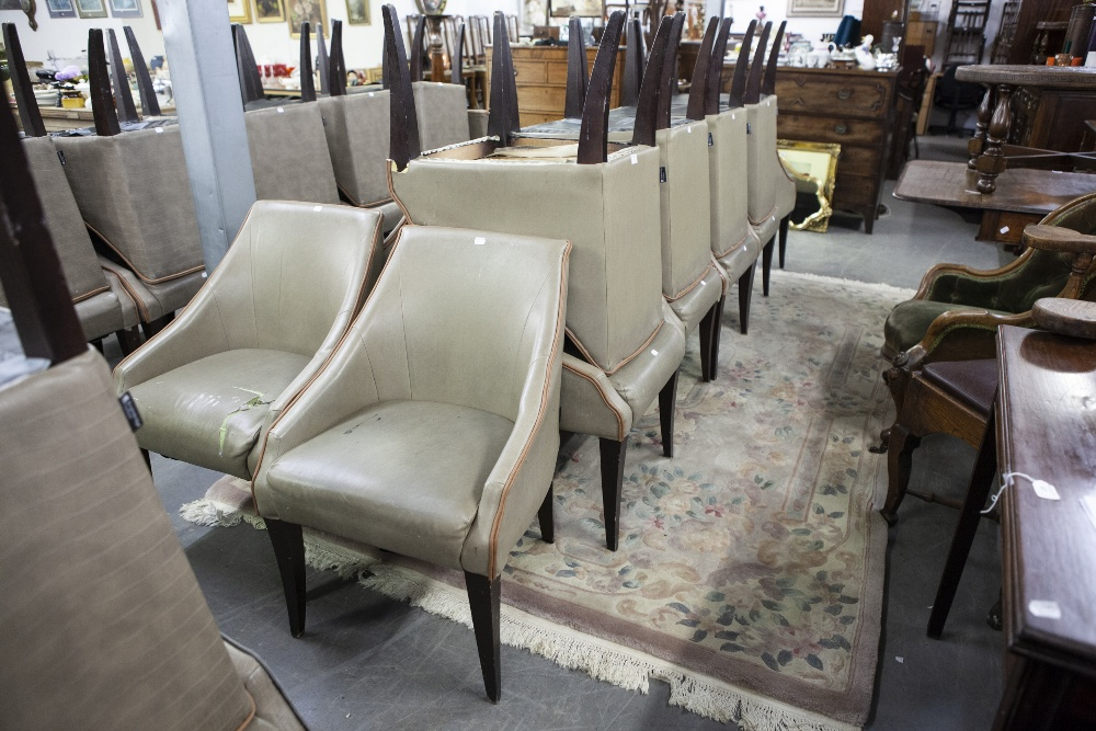 Lot 7 - SET OF EIGHT 'KNIGHTSBRIDGE' TUB SHAPED DINING CHAIRS, COVERED IN BROWN FAUX LEATHER (8)