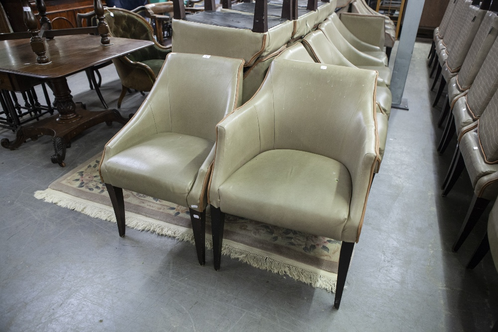 Lot 8 - SET OF EIGHT 'KNIGHTSBRIDGE' TUB SHAPED DINING CHAIRS, COVERED IN BROWN FAUX LEATHER (8)