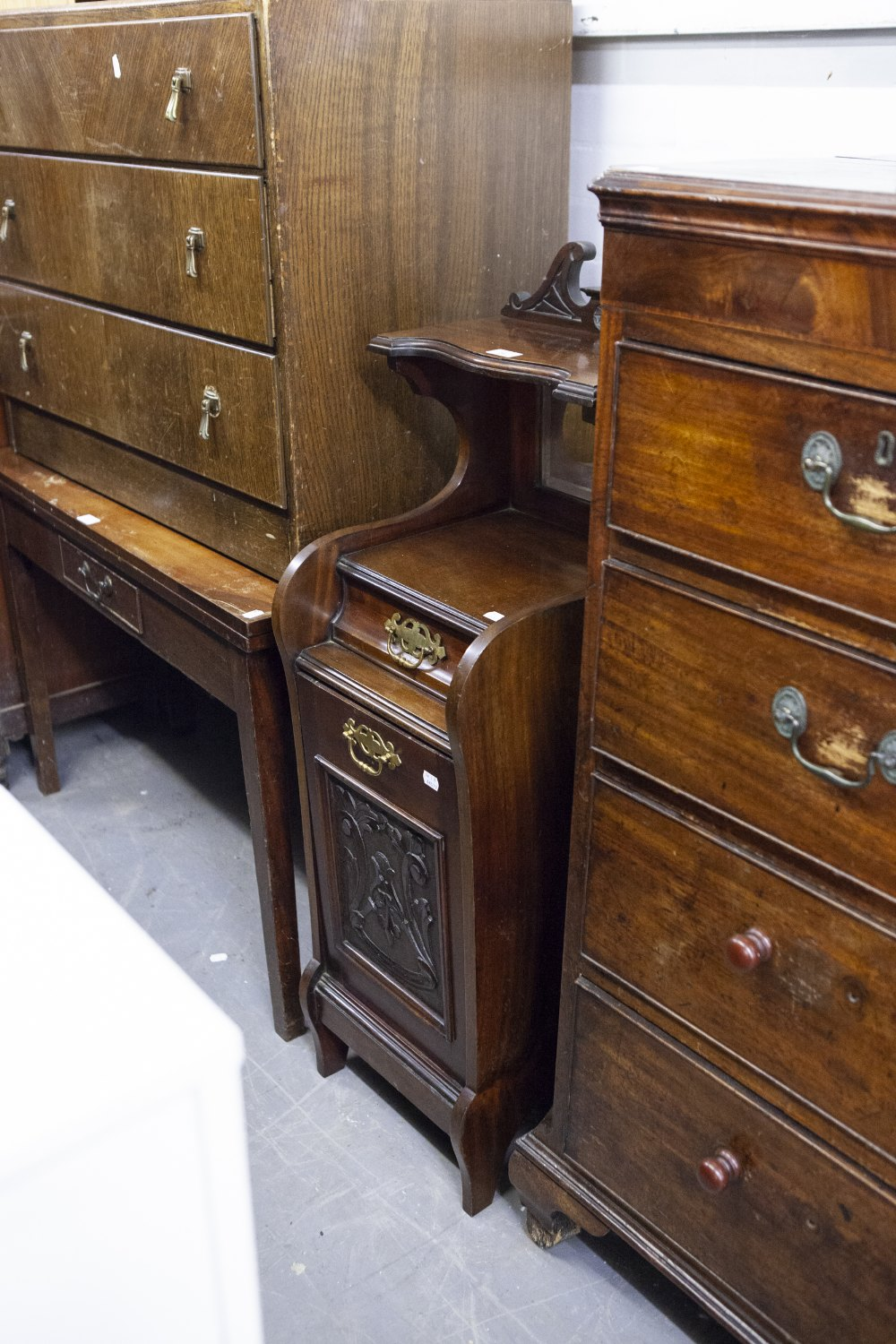 Lot 26 - EARLY TWENTIETH CENTURY FALL FRONT COAL PURDONIUM, WITH DRAWER AND MIRROR ABOVE