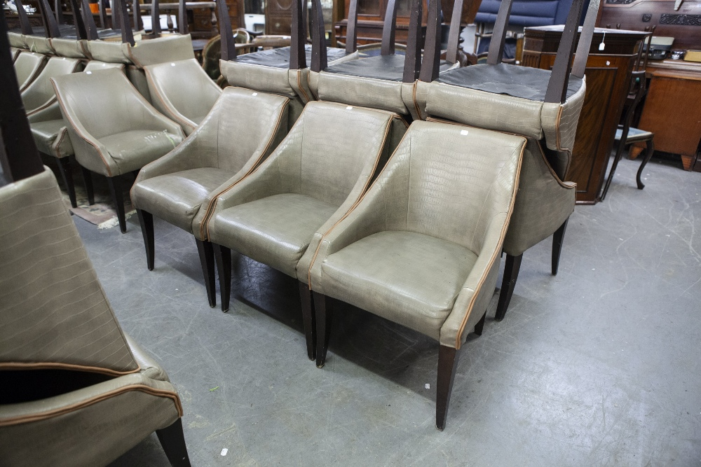 Lot 5 - SET OF SIX 'KNIGHTSBRIDGE' TUB SHAPED DINING CHAIRS, COVERED IN BROWN FAUX LEATHER (6)