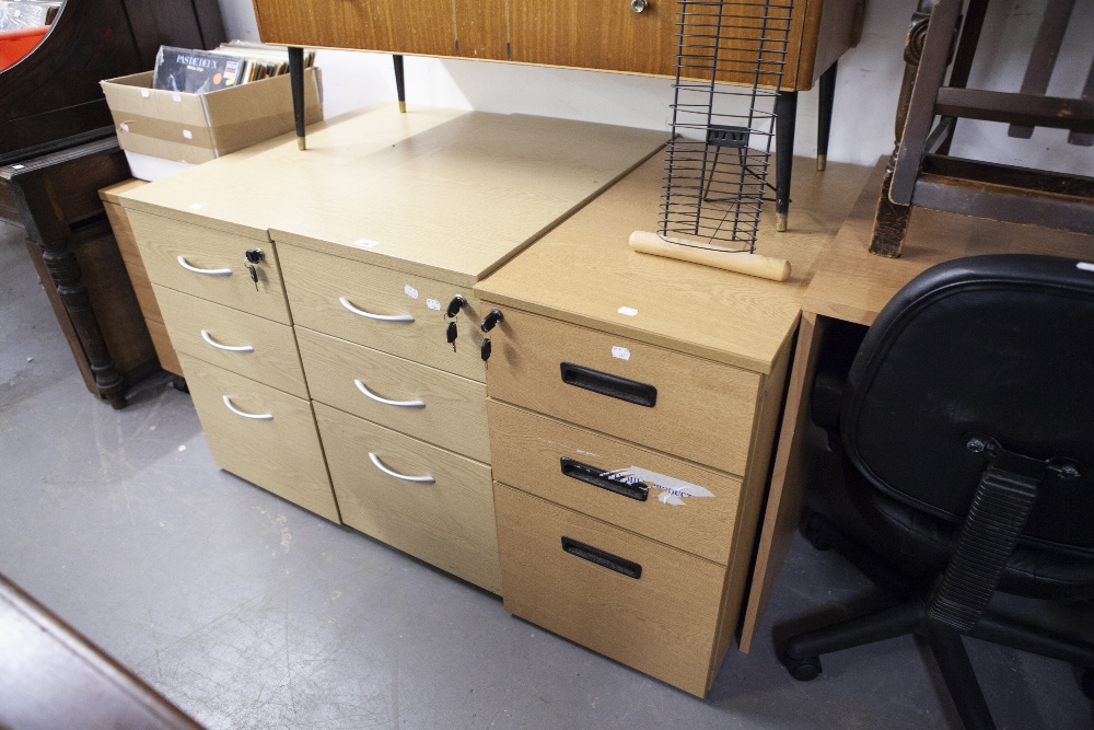 Lot 29 - FOUR VARIOUS DESK PEDESTALS OF THREE DRAWERS