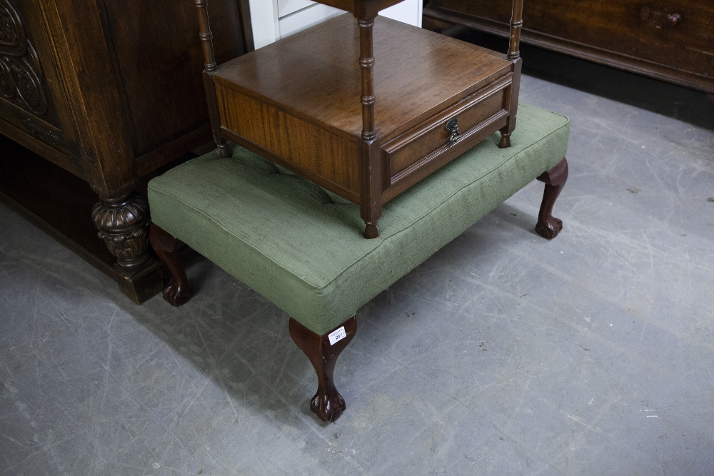 Lot 25 - A REPRODUCTION LONG LOW STOOL, with brushed silk button top raised on cabriole legs and ball and