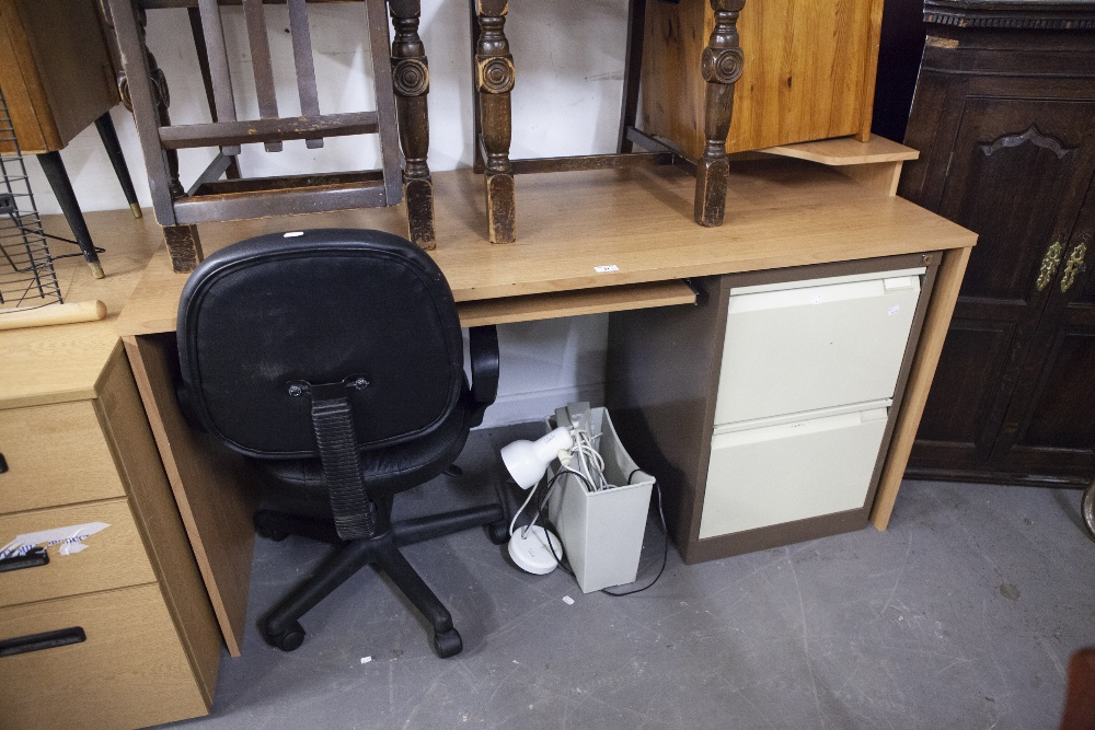 Lot 41 - A MODERN DESK, WITH SLIDE OUT SHELF, DESK CHAIR, TWO DRAWING FILING CABINET, SHREDDER AND A DESK
