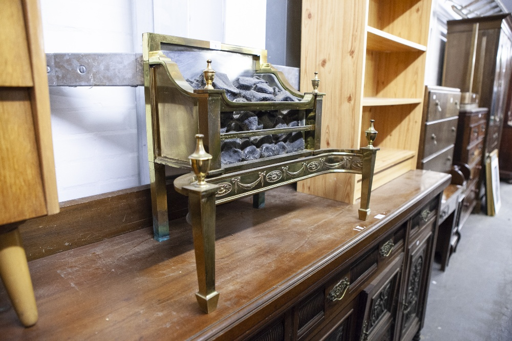 Lot 9 - A BRASS DOG GRATE WITH COAL EFFECT (ELECTRIC ELEMENT REMOVED)