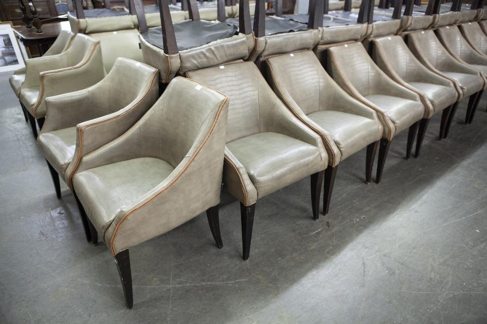 Lot 1 - SET OF SIX 'KNIGHTSBRIDGE' TUB SHAPED DINING CHAIRS, COVERED IN BROWN FAUX LEATHER (6)