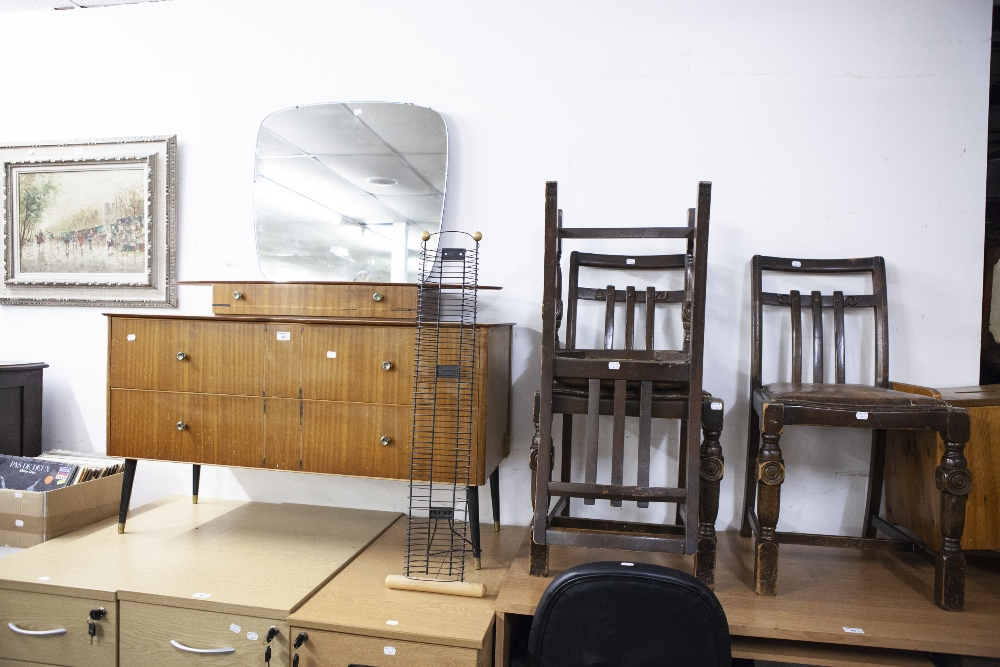 Lot 40 - A 1970's DRESSING CHEST, SHAPED MIRROR OVER SHORT DRAWERS, THE BASE HAVING TWO LONG DRAWERS ON