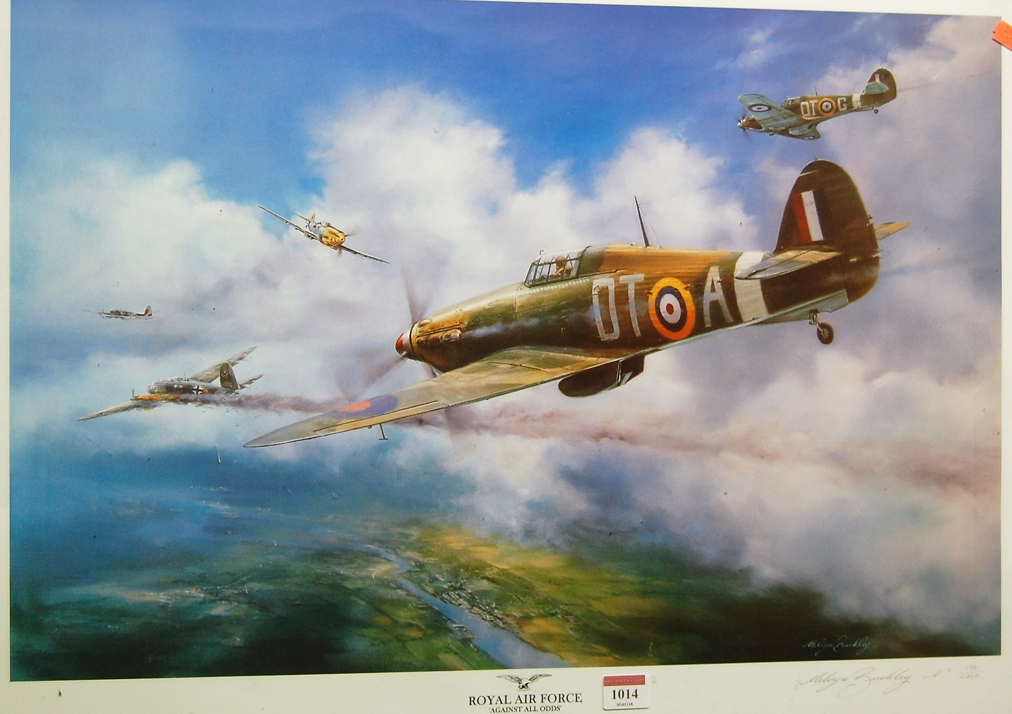 Lot 1014 - Melvin Buckley - Royal Air Force 'Against all Odds', lithograph, signed and numbered in pencil to