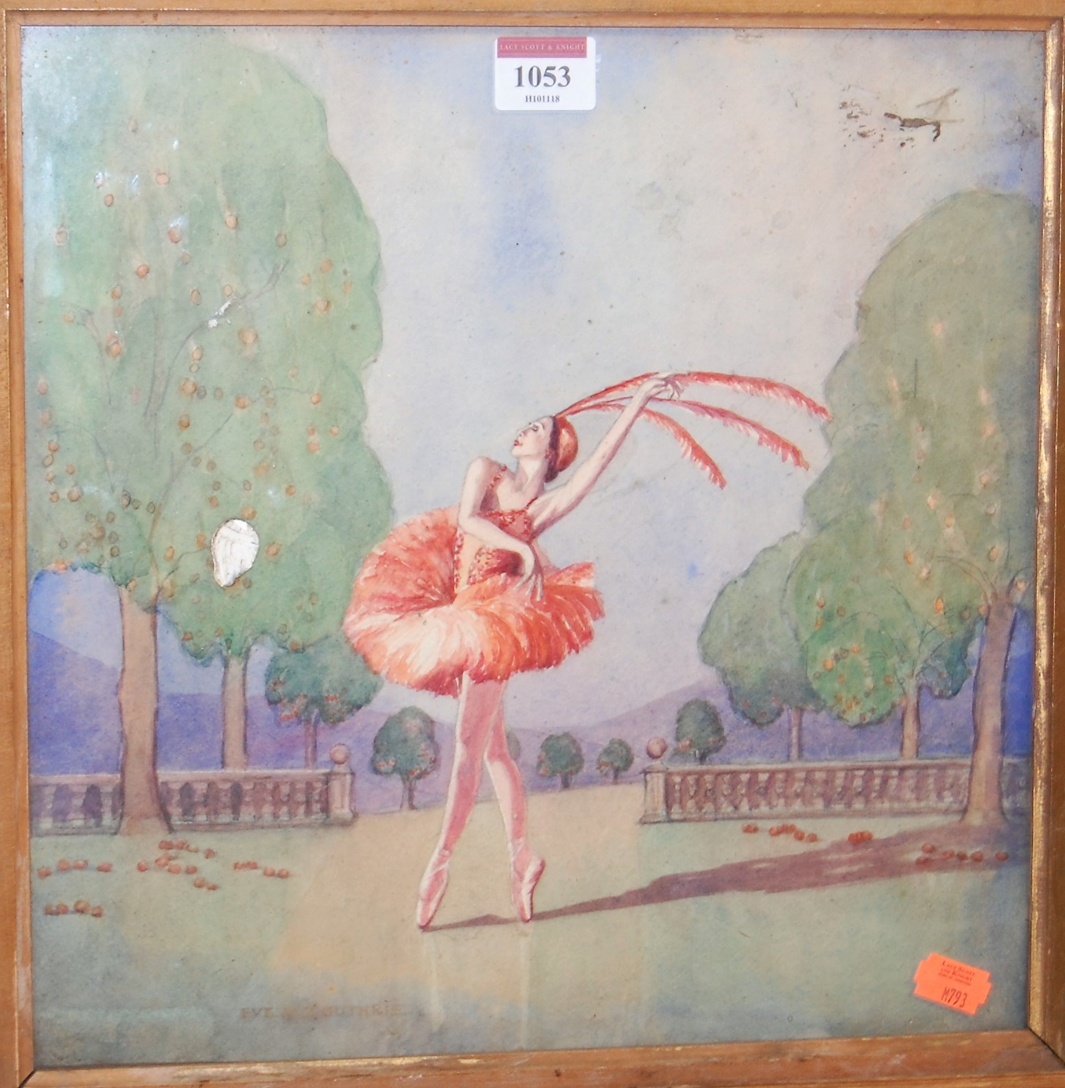 Lot 1053 - Eve M.S. Guthrie - The Ballerina, watercolour, signed lower left, 31 x 31cm