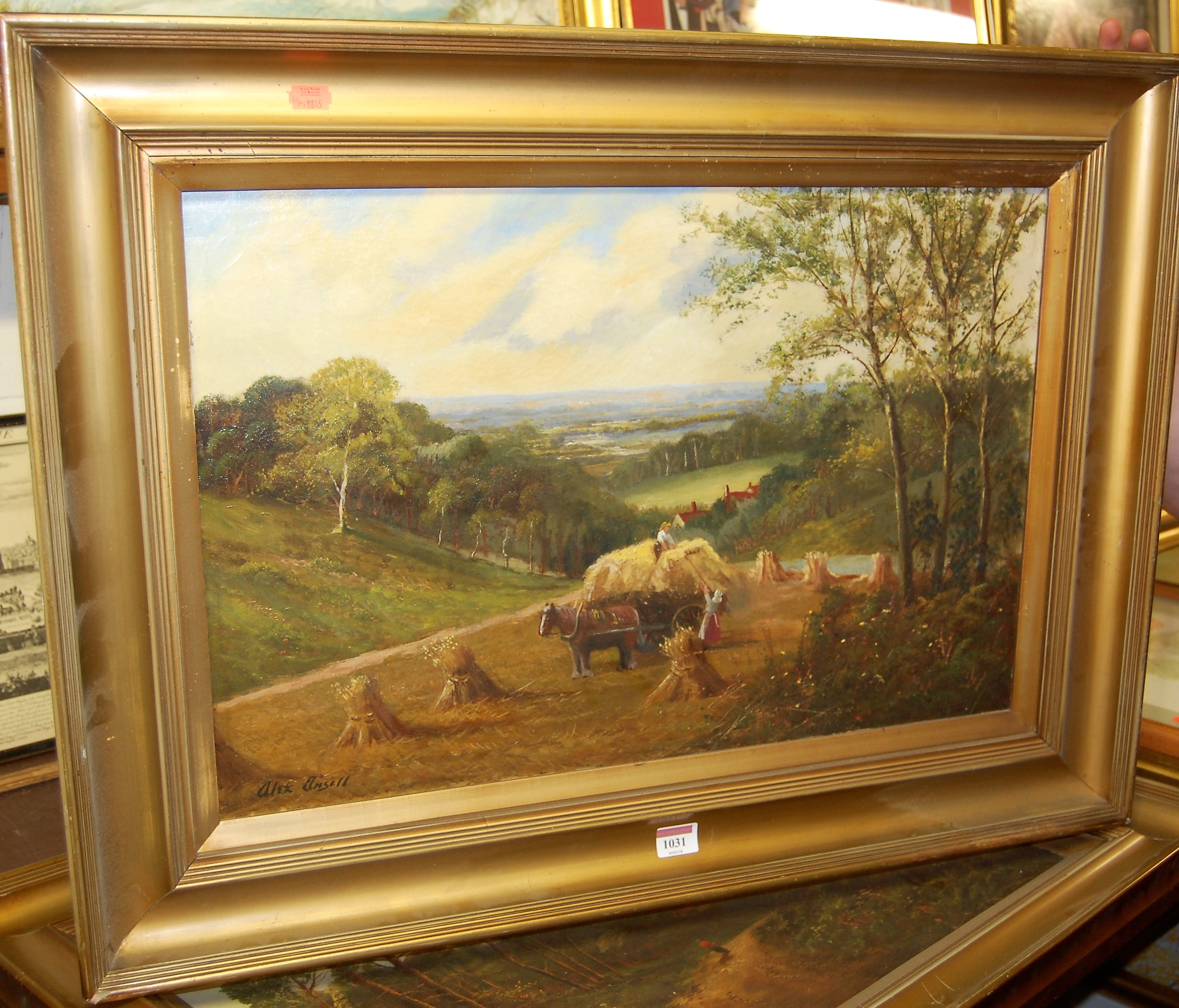 Lot 1031 - Alex Ansell - Loading the haycart, oil on canvas, signed lower left, 40 x 60cm; and Returning