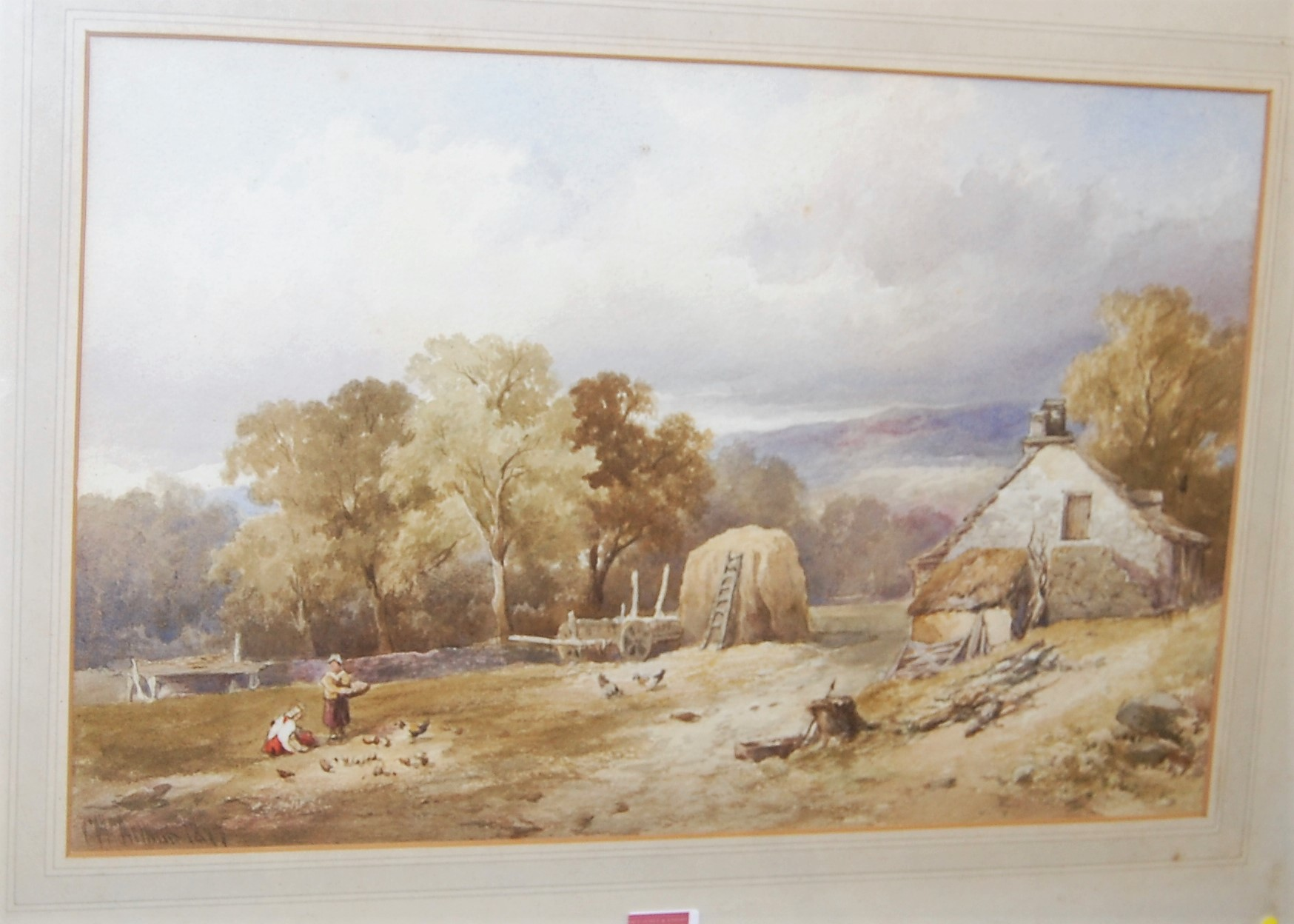 Lot 1008 - C. Arthur - Feeding the Chicks, watercolour, signed and dated 1879 lower left, 32 x 48cm