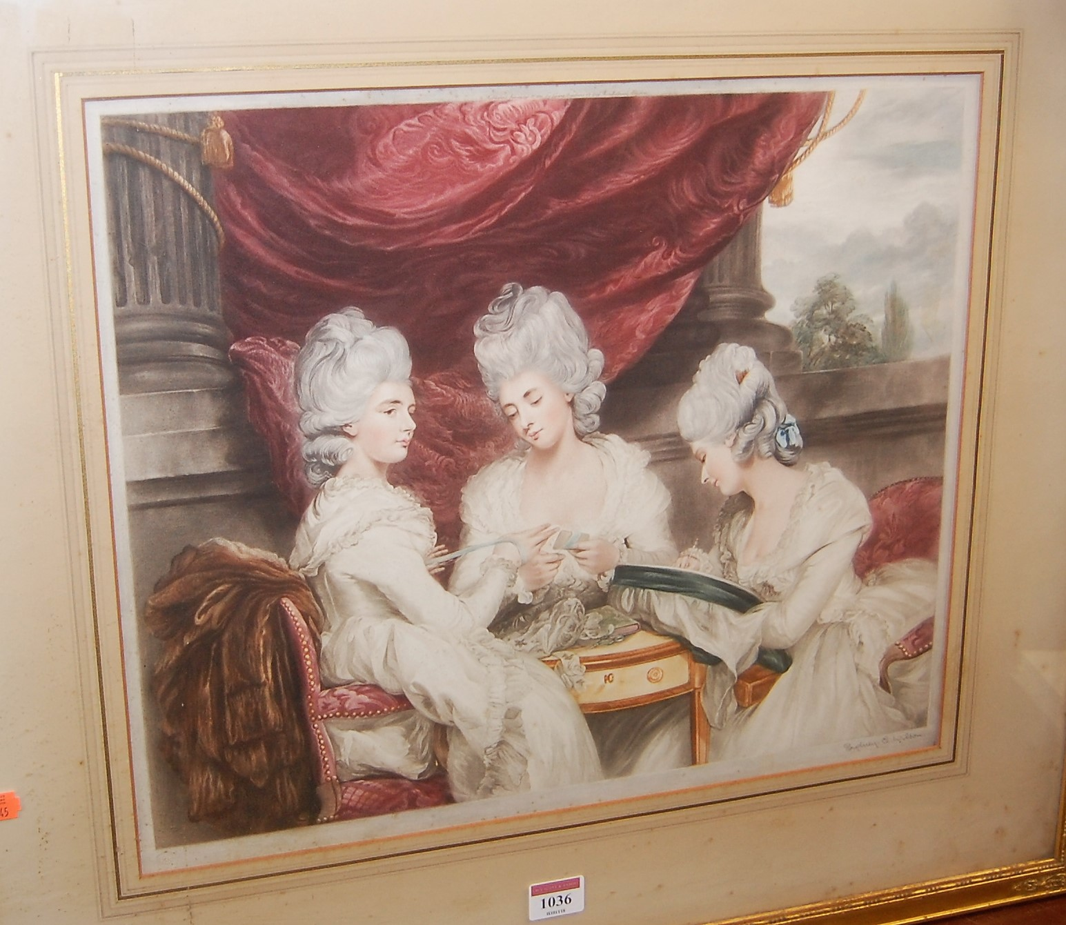 Lot 1036 - Sidney E. Wilson - Terrace scene with lady's crocheting, colour mezzotint, signed in pencil to the