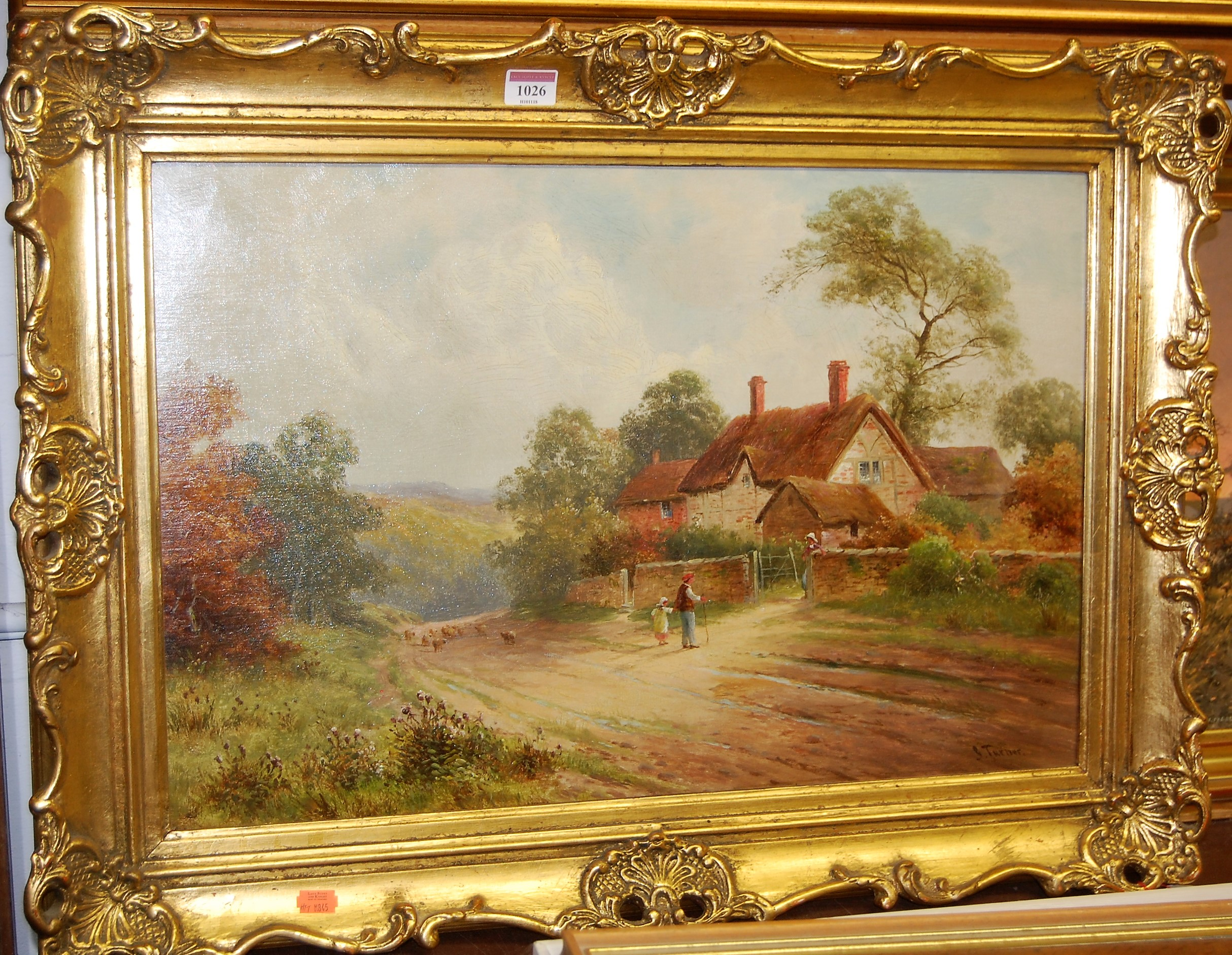 Lot 1026 - G Turner - Rural scene with figures driving sheep before thatched cottages, oil on canvas (re-