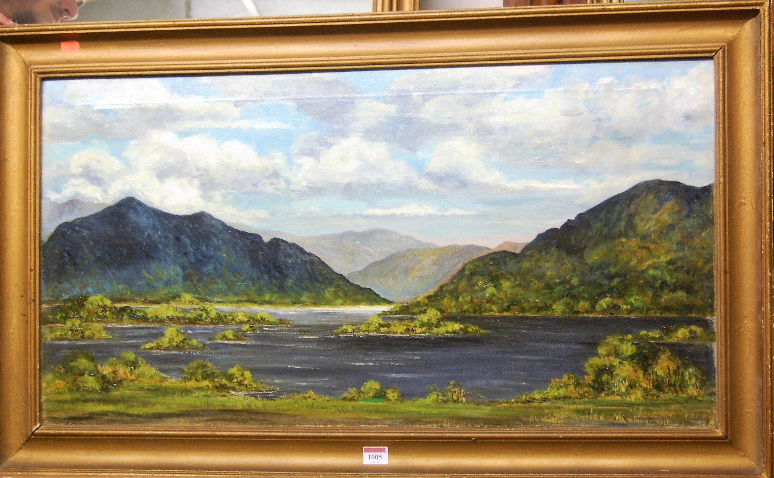 Lot 1005 - Early 20th century school - Mountain Lake scene, oil on canvas, 45 x 85cm