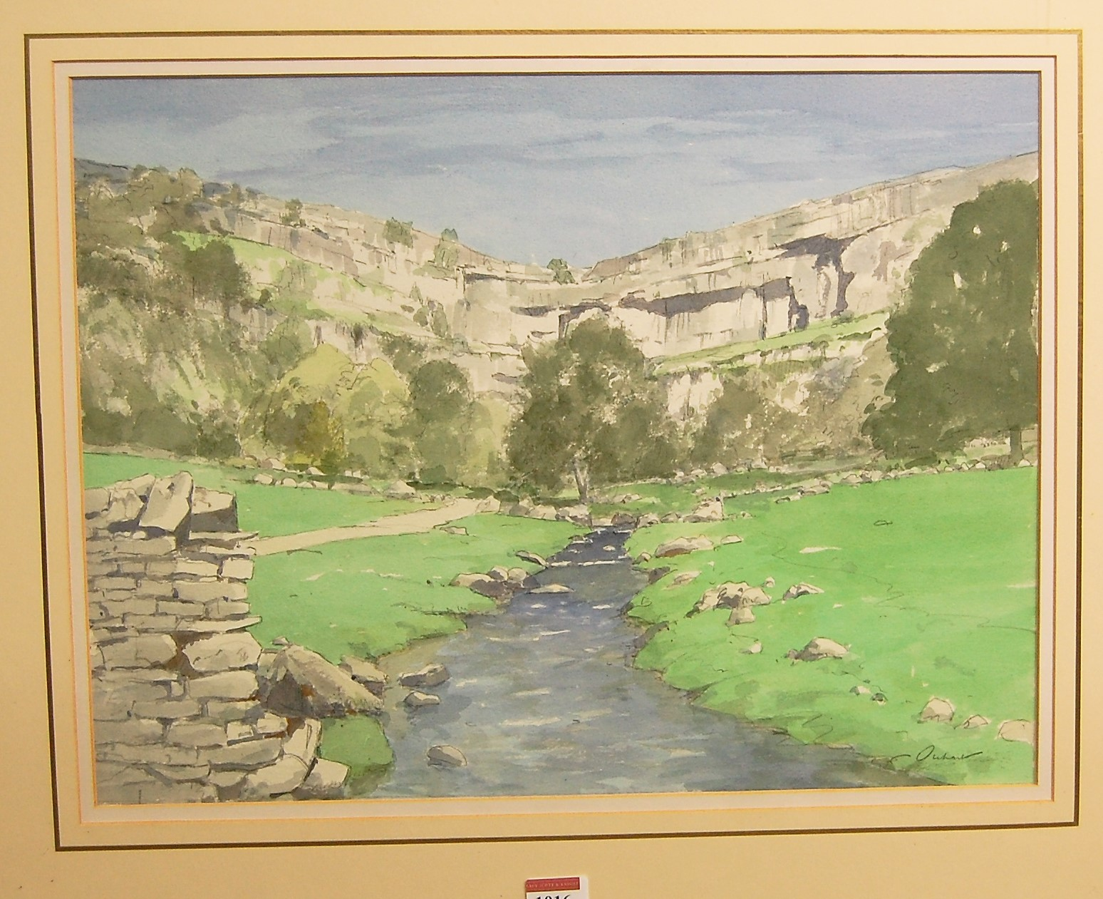 Lot 1016 - Stanley Orchart - Malham Cove, Airedale, Yorkshire, watercolour, signed lower right, 35 x 47cm