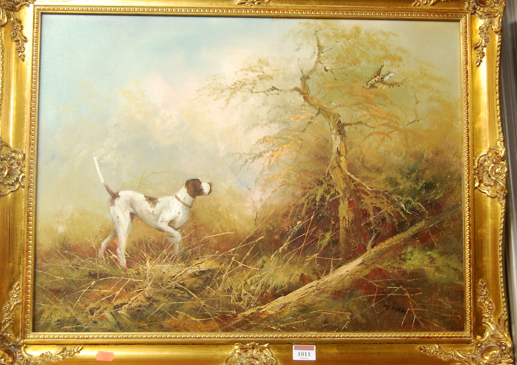 Lot 1011 - J Fitz - Hunting hound and gamebird in a woodland, oil on canvas, signed lower right, 45 x 60cm
