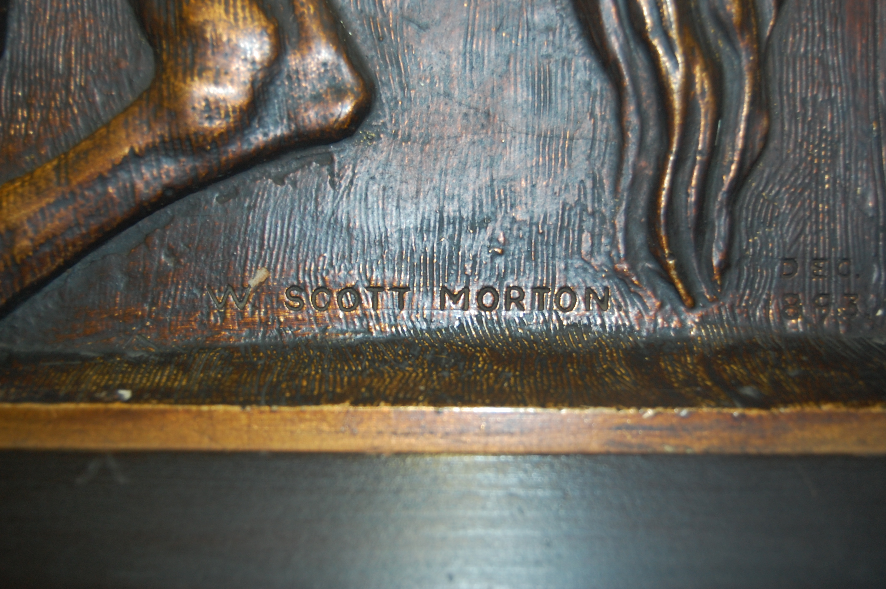 Lot 1020 - W. Scott Morton - relief panel, signed and dated 1893 lower right, 62 x 93cm