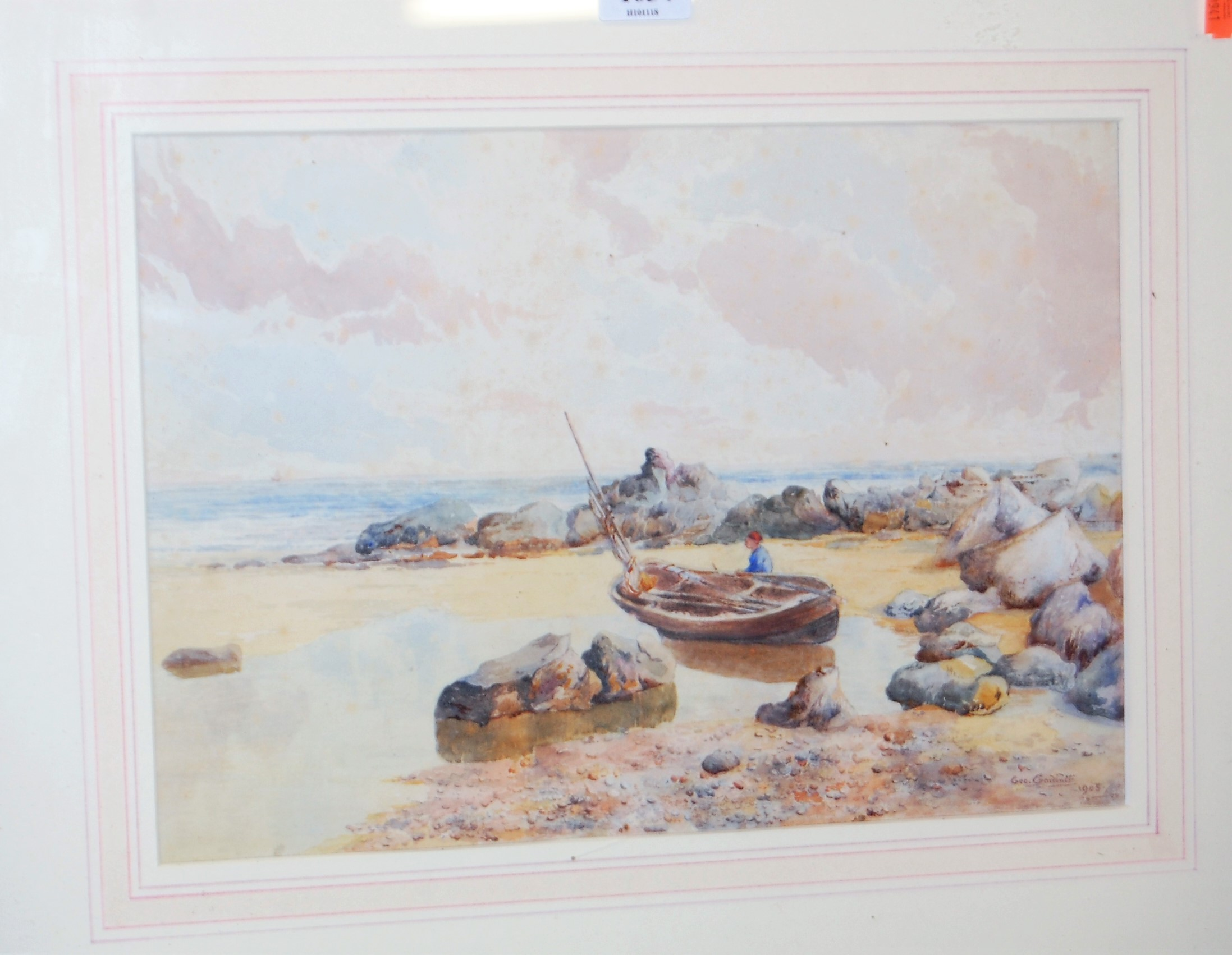 Lot 1034 - George Gardiner - Waiting for the tide, watercolour, signed and dated 1905 lower right, 23 x 33cm