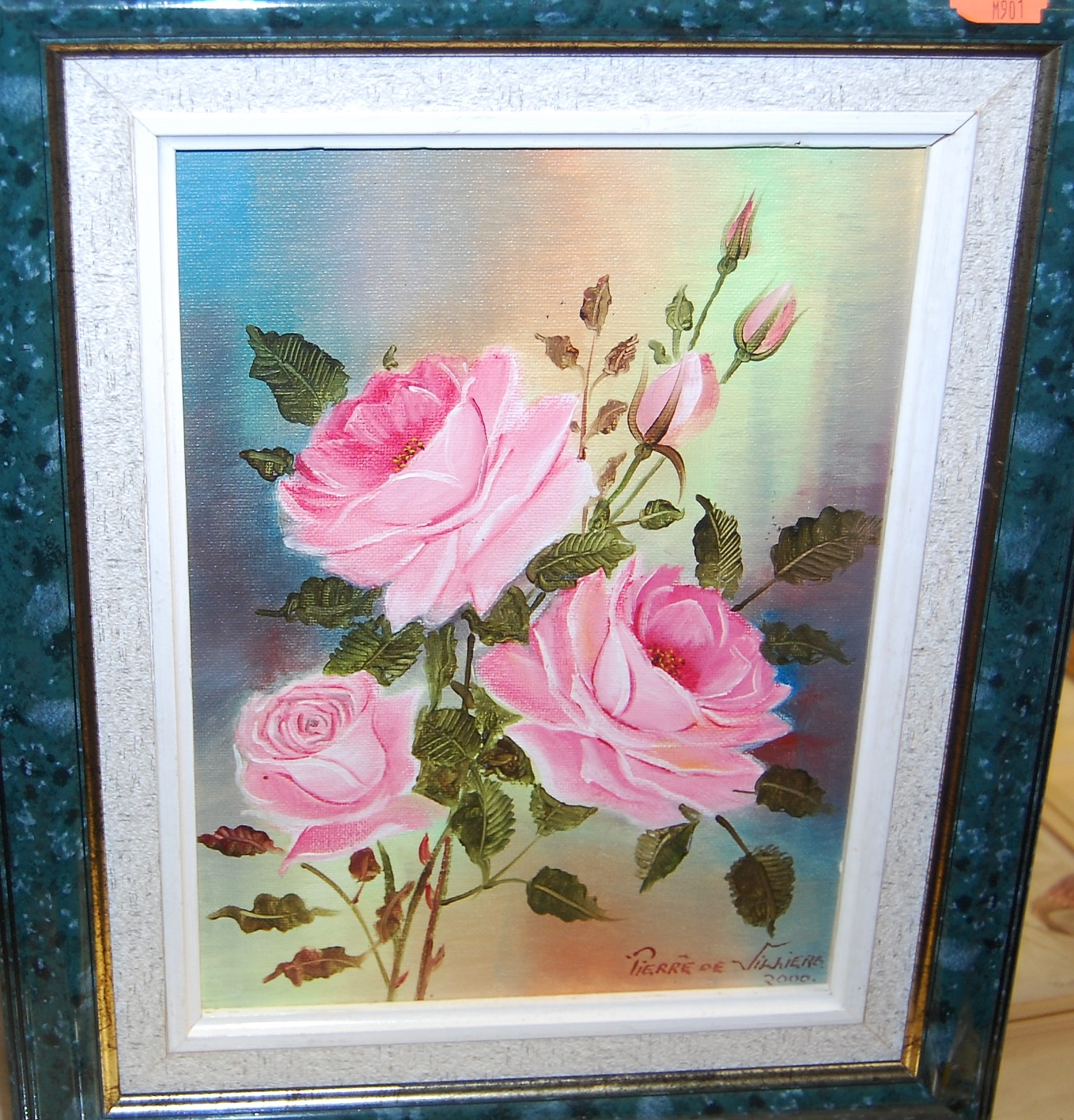 Lot 1038 - Pierre de Villiers - Roses, acrylic on canvas, 27 x 19cm; and J.A. Long - Footpath through Cavendish