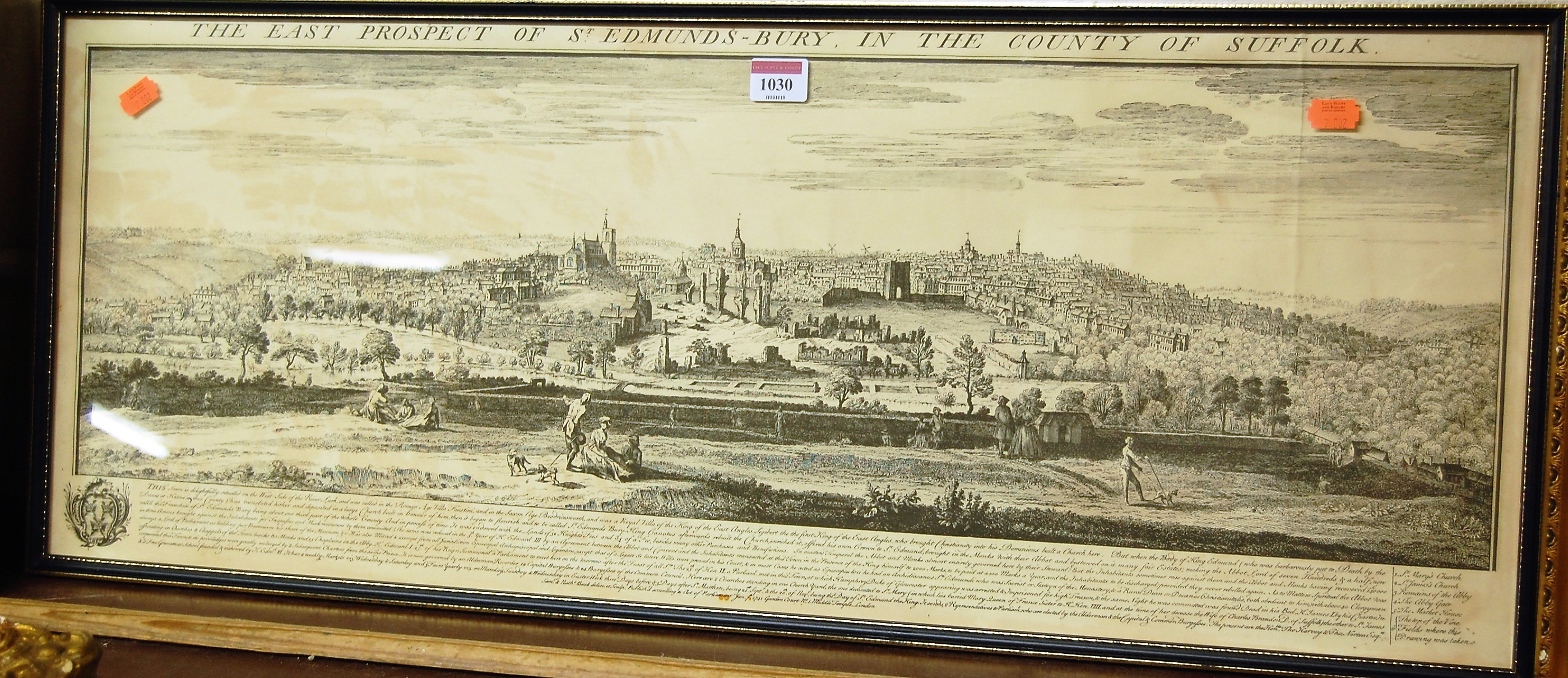 Lot 1030 - The East Prospect of St Edmundsbury in the County of Suffolk, reproduction monochrome engraving