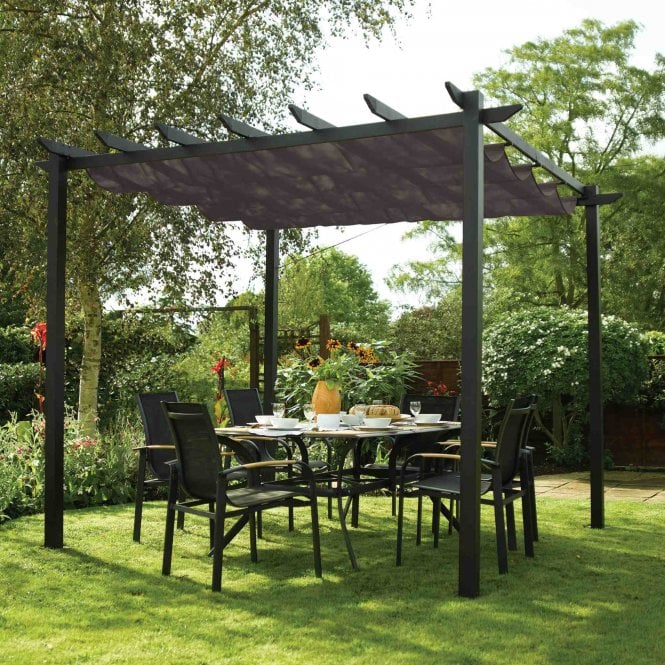 Lot 10004 - V Brand New 3m x 3m Aluminium Charcoal Grey Pergola With Zipped Cover - Sturdy Design And Folds Back