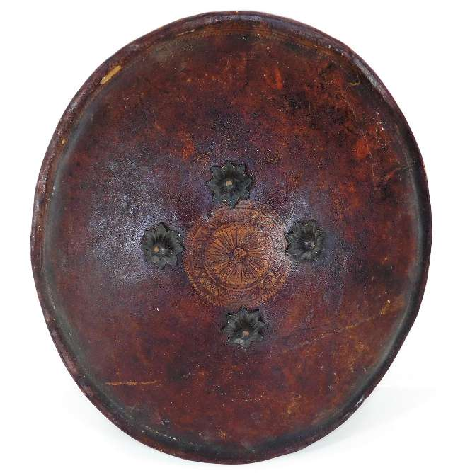 Lot 252 - An 18th/19thC. shield, possibly Persian, leather w