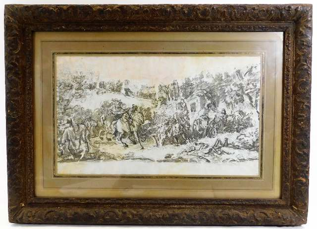 Lot 20 - A framed 17th/18thC. Dutch school pencil, charcoal