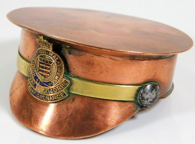 Lot 221 - A copper trench art snuff box with Royal Army Ordn