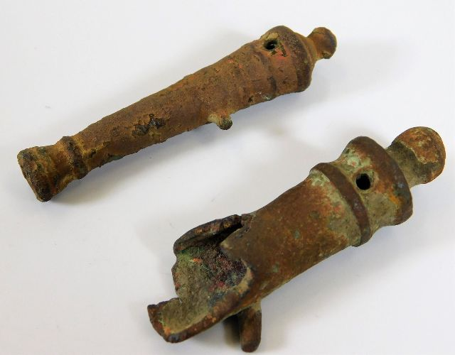 Lot 106 - Two 18thC. toy cannons, one shown exploded