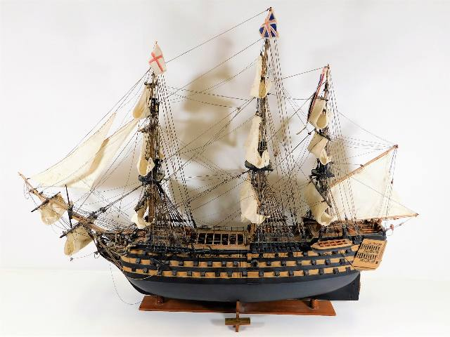 Lot 239 - A fine hand built model of HMS Victory, one small
