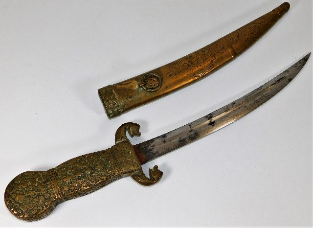 Lot 257 - A late 19thC. Persian dagger and scabbard 14.5in l