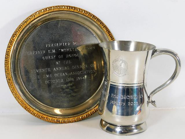 Lot 117 - A silver plated tankard & salver awarded to Captai