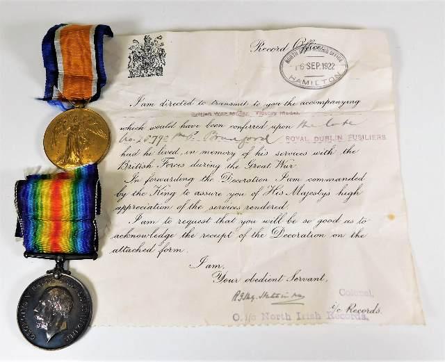 Lot 765 - A WW1 medal set awarded to 25770 Pte. P.P. Bradfor