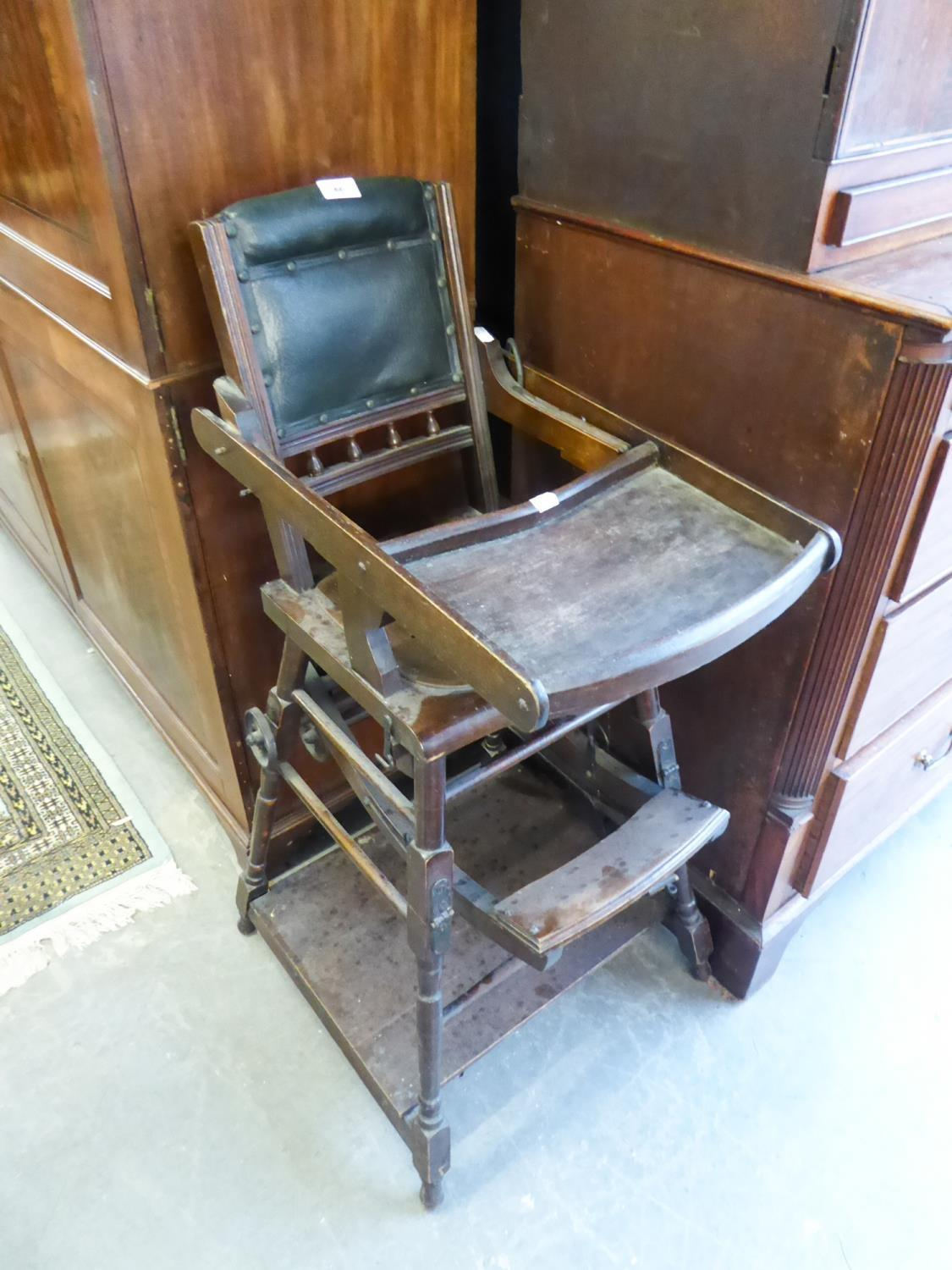 Lot 65 - LATE VICTORIAN METAMORPHIC HIGHCHAIR WITH CAST METAL WHEELS
