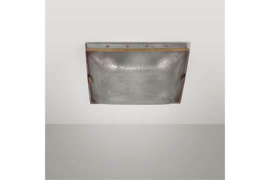 Plafoniera Ottone E Vetro : Fontana arte plafoniera in vetro stampato metallo e ottone