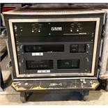 DESCRIPTION 2-WAY CROSSOVER, POWER AMP, AND MAGNETIC FIELD AMP IN ROAD CASE ON CASTERS BRAND/MODEL E