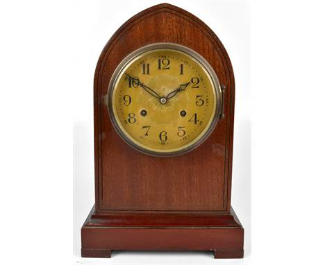 H Y MOSER & CO; an early 20th century lancet top mahogany cased mantel clock, the tin plate dial set with Arabic numerals
