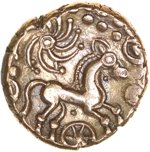 Lot 7 - Wonersh. Sills British Ma, dies 2/1.c.50-40 BC. Celtic gold stater. 17mm. 5.34g.