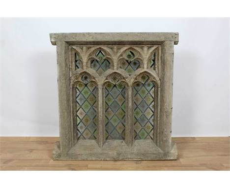 Rare 19th century or earlier carved oak and stained glass window, square form, with pierced gothic tracery, the coloured lead