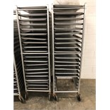 """(2) Channel Approximately 64"""" Tall Tray Racks, Mounted on Casters, 20 Tray Capacity"""